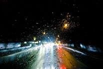 Licht, Windschutzscheibe, Nacht, Regen