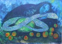 Schlange, Verführung, Chinesisch, Malerei