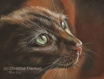 Malerei, Katze, Orientale, Pastellmalerei