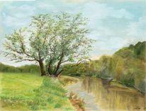 Landschaft, Pastellmalerei, Frühling, Mulde