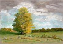 Pastellmalerei, Sonne, Landschaft, Koppel