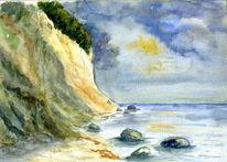 Wasser, Kreidefelsen, Himmel, Strand