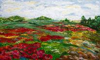Mohnfeld, Landschaft, Wolken, Malerei