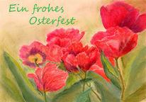 Ostern, Rot, Pastellmalerei, Tulpen