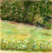 Wiese, Frühling, Pastellmalerei, Wald