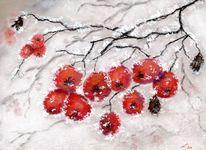 Rauhreif, Zweig, Pastellmalerei, Winter