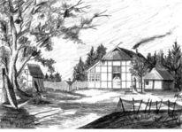 Landschaft, Ellerbek, Fischerdorf, Bleistiftzeichnung