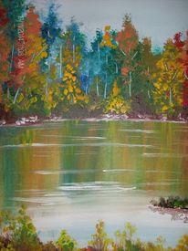 Herbst, Wald, See, Laub