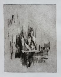 Körper, Figur, Radierung, Druckgrafik
