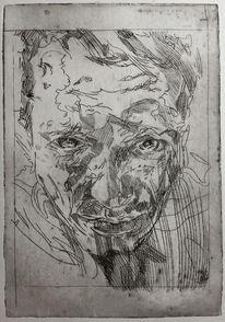 Radierung, Gesicht, Mann, Druckgrafik
