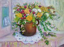 Krug, Sonnenblumen, Blumen, Tisch