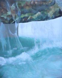 Wasser, Energie, Brunnen, Ölmalerei
