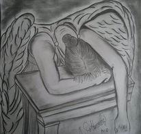 Engel, Bleistiftzeichnung, Kohlezeichnung, Zeichnungen