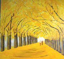 Dekoration, Herbstallee, Allee, Malerei