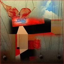 Surreal, Schwebende schaukel, Digital bearbeitet, Digitale kunst