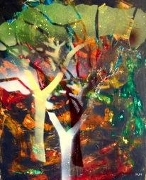 Herbst, Baum, Blätter, Malerei