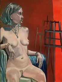 Frau, Sitzen, Akt, Rot