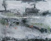 Grau, Elemente, Blau, Abstrakte landschaft