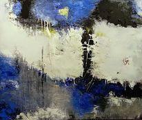 Mischtechnik, Moderne malerei, Blau, Acrylmalerei