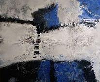 Blau, Mischtechnik, Acrylmalerei, Weiß