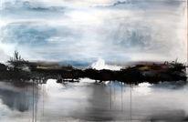 Grau, Abstraket landschaft, Blau, Landschaft