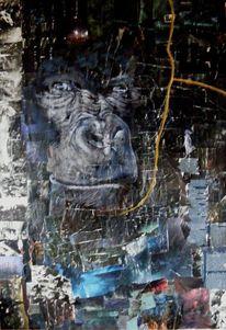 Menschen, Malerei, Collage, Tiere