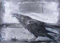 Zeichnung, Tiere, Ausschnitt, Kohlezeichnung
