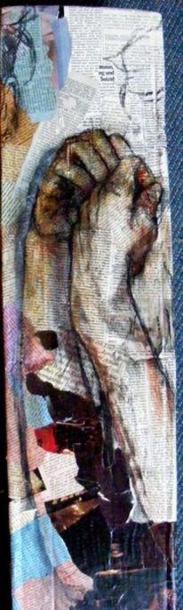 Pastellmalerei, Portrait, Collage, Kohlezeichnung
