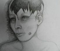 Kopf, Gespalten, Dunkel, Bleistiftzeichnung