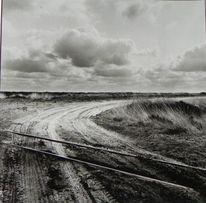 Schiene, Wolken, Moor, Spuren