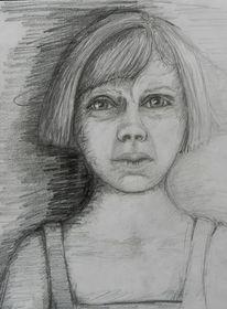 Skeptisch, Mädchen, Zeichnung, Skizze