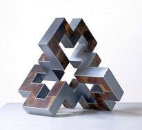 Skulptur, Stahl, Entfaltung, Holz
