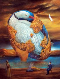 Gedanken, Ente, Meditation, Alter mann