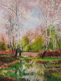 Frühling wald birken, Malerei, Frühling, Wald