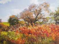 Herbst bäume schilf, Malerei, Herbst, 2013