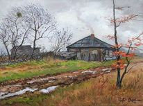 Dorf, Bauernhaus, Herbst, Regen