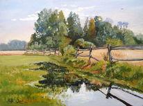 Zaun, Baum, Feld, Landschaft