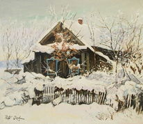 Haus, Zaun, Winter, Schnee