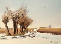 Frühling, Baum, Landschaft, Schnee