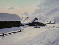Schnee, Dorf, Russland, Winter