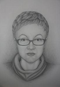 Frau, Brille, Portraitzeichnung, Frauenportrait