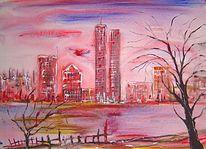 Lügen, Stadt, Ölmalerei, Terror