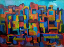 Stadt, Fluss, Auszeit, Malerei