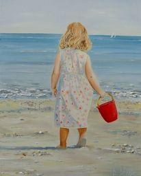 Strandkinder, Mädchen, Rot, Eimer
