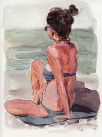 Rücken, Strand, Sommer, Aquarell