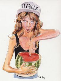 Jung, Mädchen, Frech, Zeichnungen