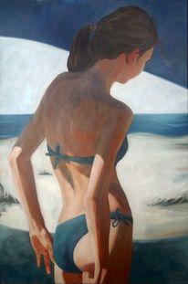 Mädchen, Licht, Strand, Malerei
