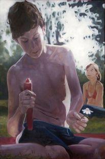 Junge, Haut, Licht, Malerei