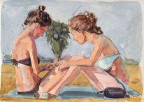 Mädchen, Strandbad, Sommer, Aquarell