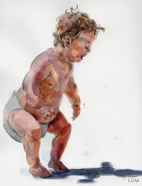 Kind, Baby, Aquarell,